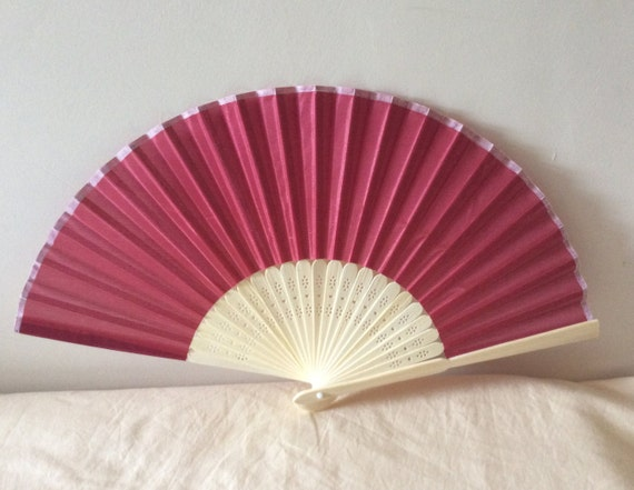 Regency/Victorian Style Fan. Deep Red. Bridal Favour.