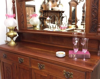 SALE English Antique Sideboard Buffet Mirrored Furniture Walnut