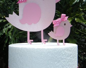 In Stock!!  Mommy and Baby Birdie CAKE TOPPERS in Pink and White