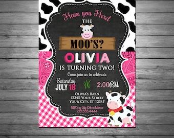 Cow Birthday Invitation, Printable File, Moo Invitation, Pink Gingham, Pink Bandana, Cow Print, Little Cow, Chalkboard