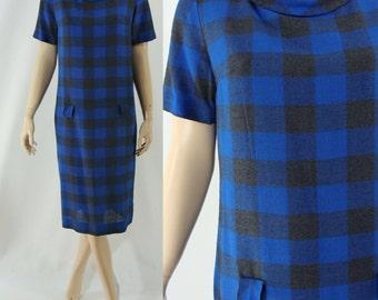 SALE Vintage Sixties Dress - 1960s Blue Buffalo Plaid Dress - 60s Wool Wiggle Dress - Large Shift Dress - Woolen Wiggle Dress - Large