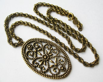 Vintage 60s Accessocraft Gold Victorian Revival Pendant Long Necklace