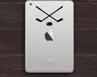 Crossed Hockey Sticks and Puck iPad Decal Sticker BAS-0327