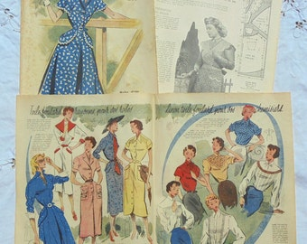 Vintage 1950's French Fashion Images & Illustrations Ephemera Paper Pack - Spring/Summer Fashion