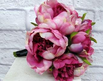 Peony bridesmaid bouquet, Fuchsia pink peonies, Silk wedding flowers