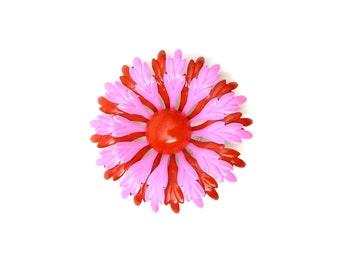 1960s Enamel  Flower Brooch - Red and Pink Enamel  Brooch Mod Pin