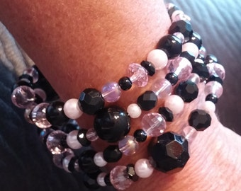 Light Pink and Black Memory Wire Bracelet