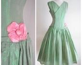 SALE 1950s Green lamé organza stripe party dress / 50s drop waist - S M