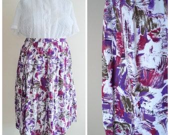 1950s Purple abstract print cotton day skirt / 50s plus size paint splatter pleated skirt - XL
