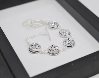 Silver Druzy Bracelet, Silver Faux Druzy, Silver Bracelet, Faux Druzy Bracelet, Druzy Bracelet, Metallic Silver, Free Shipping