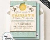Vintage Lemon Invitation, Lemon Birthday Invitation, Lemon Party, Girl First Birthday, Girl Birthday, Boy Birthday, Picnic Party Invite