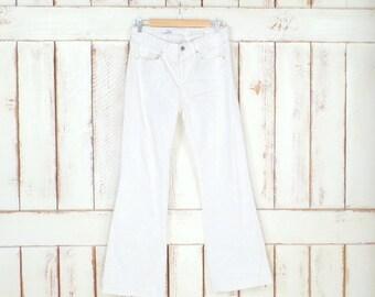 90s vintage GAP white boot cut/slight flare denim jeans/long and lean jeans/GAP 1969 denim