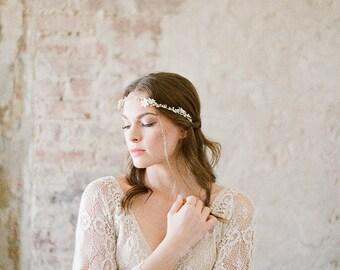 Wedding Hair Vine, Gold Hair Piece, Crystal Bridal Headpiece, Bridal Headpiece, Gold Hair Vine - FLORA