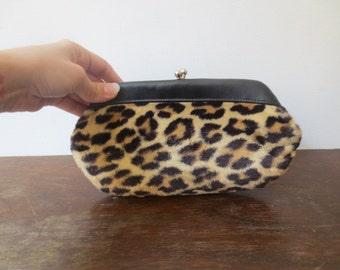 Adorable 50s Plush Vintage Faux Leopard Fur Kisslock Clutch