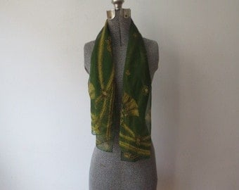 Gorgeous Vintage Long, Skinny Chiffon Forest Green w/ Gold Tassel Detailed Scarf