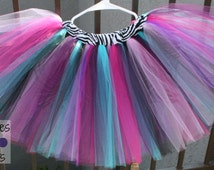 Rockstar Zebra Lined Tutu Skirt with Aqua, Bubble Gum Pink, Hot Pink, Purple, Plum, and Black Tulle, Baby, Infant, Toddler, Birthday, CTT40