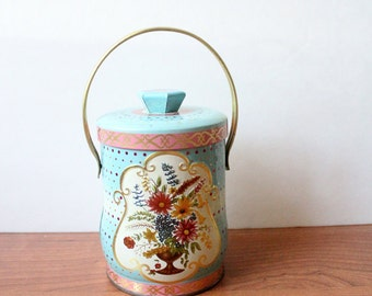 Vintage Blue and Pink Floral Tin Shabby Chic