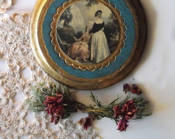 Vintage Italian Florentine Gilt Toleware Art. Italian Renaissance Romance. French Farmhouse Decor. Rustic Wood Art