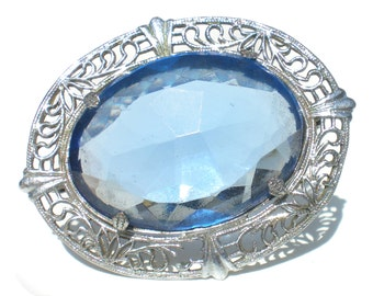 Art Deco Light Blue Glass Brooch with Filigree Border Silver Tone & Faceted Stone - Vintage Jewelry