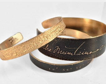 Custom Wedding Story Cuff with Longitude/Latitude   Custom Personalized  Gifts for Brides, Bridesmaids, Made of Honor, Bridal Party