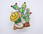Taxco Mexico Sterling Silver Enamel Pin Brooch.  Signed JF Jose Fuentes. Figural Man Siesta Cactus. Mid Century Modernist Mexican Jewelry