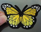 Iron On Patch or Sewing on Embroidery Yellow Butterfly Patches Appliques Embroidered Patch