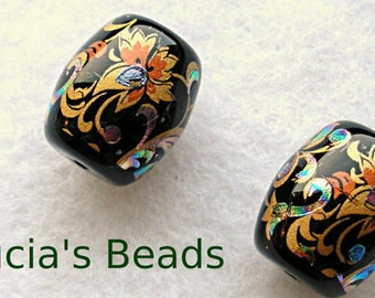 NEW Gorgeous Pair of Japanese Tensha Beads Arabesk on Black 13 x 15 MM (TBBA001)