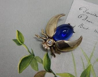 Vintage Blue Cabochon Fly Bug Brooch
