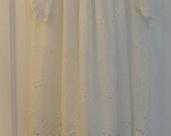 Antique Childs Cotton Lawn Eyelet Christening Gown Baby Dress & Slip