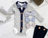 Easter Newborn Baby Boy Coming Home Outfit Set up to 4 Items. Cardigan Bodysuit, Bow Tie Bodysuit, Button Leg Warmers & Knit Newsboy Hat
