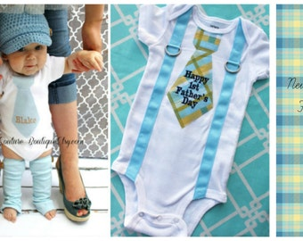 Happy 1st Father's Day Baby Boy Tie & Suspender Bodysuit and Leg Warmers.  Choose Any Necktie Fabric. Plaid, Stripes Argyle New Dad New Baby