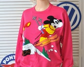HOLD Vintage Mickey Mouse Sweatshirt/Womens Hot Pink/Mickey Skiing/Latch Hook/Sunday Comics Officially Licensed/80s Acrylic Medium to Large