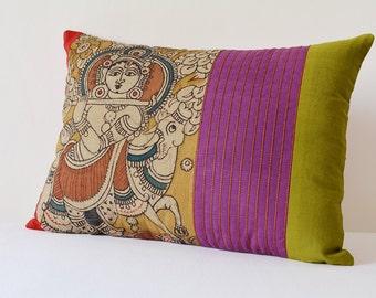 Krishna Hand Painted Kalamkari Cushion Cover, Krishna Kalamkari Pillow , Indian God Krishna Decorative Pillow Cover , Krishna the Shepherd