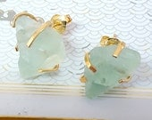 Raw Stone Earrings, Mint Green Gold Raw Fluorite Stud Earrings Natural Stone Organic Fluorite Post Earrings, Bridesmaid Earrings