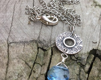 Dainty Blue Crystal Briolette Necklace, Coin Layering Necklace, Romantic Gift, Feminine Crystal Necklace, Small Pendant