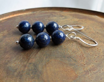 lapis lazuli earrings. MIDNIGHT. sterling silver earrings. long dangle earrings. blue earrings. lapis earrings. natural stones. stacked.