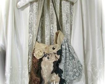 Bohemian Hippie Bag, thick upholstery fabric purse, patchwork bag, handmade earthy granny bag, boho shoulder bag