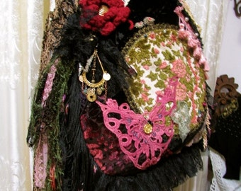 Bohemian Gypsy Bag, boho hippie edgy rocker, vintage velvet tapestry doily beads buttons embellished, upholstery and velvet fabric bag