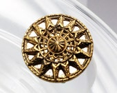 Vintage Victorian Ornate Openwork Sun Burst Design Brass Button, 18mm, Self Shank, 1pc