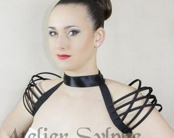 Neck collar black fantasy boned crinoline handmade cage shoulder shoulders.