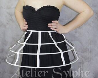White color Crinoline hoop cage skirt pannier 3 rows elastic waist simple cage