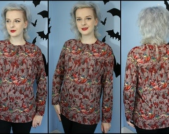 Put a Bird On It Vintage 70s 80s Vintage Womens Pullover Blouse by Alex Colman Sportswear Floral and Birds Modern Size Large