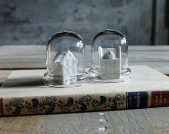 2 Dome Shaped Glass Cloches