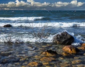 Waves crashing ashore at Northport Point on Lake Michigan by Grand Traverse Bay in the Leelanau Peninsula No.1117 Seascape Photography