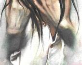 original watercolor painting / woman hands / art illustration / dark hair / white shirt / hand study / emotional art / aqua painting / HM108