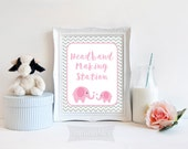 Headband Making Station Printable Sign, Pink Elephant Shower Sign, Pink Elephant Grey Chevron Baby Shower Sign, 2 Sizes, INSTANT DOWNLOAD