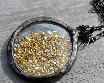 Gold & Silver Pendant, German Glass Glitter Necklace, Vintage Glass, Shaker Necklace, Gold Necklace, Jewelry Gift Idea, Gold Pendant (2468)