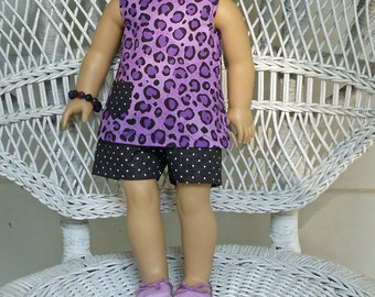 Purple Leopard Print Shorts Outfit- Handmade To Fit 18 Inch Dolls Like American Girl Dolls