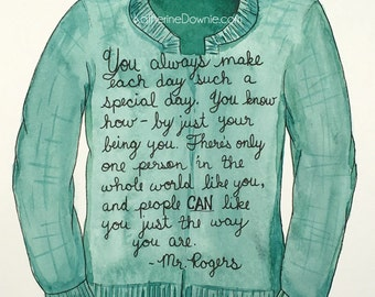Watercolor Mr. Rogers Sweater and Quote Print