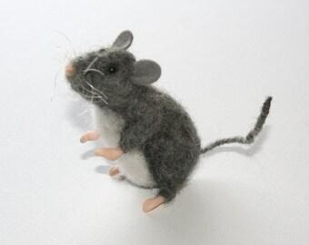 Needle Felted Gray Rat
